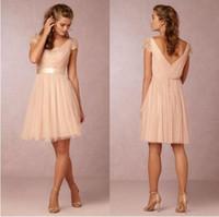 Sırf V Boyun Plaj Gelinlik Modelleri Kızlar için Yeni Moda Zarif Şeftali Nedime Elbisesi Cap Sleeve Custom Made
