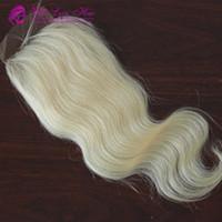 613# цвет волос бразильские волосы 3 часть кружева закрытие тела волна 4x4 три части кружева закрытие