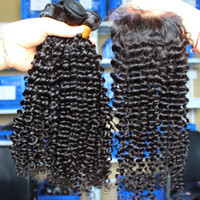 7A rizado mongol rizado pelo libre despedida 4 * 4 cierre de la base de seda con paquetes de pelo 3 unids rizado cabello humano con cierre de seda 4 unids / lote