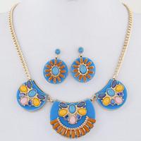 Bijoux Femme Vintage Africano Conjunto de joyas Cuentas de resina Pendientes Conjuntos de joyas Conjuntos Turiksh Collar Pendientes Conjunto para mujeres