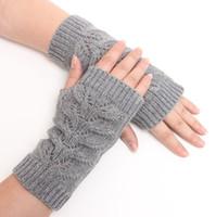 겨울 유니섹스 암 따뜻한 팔꿈치 긴 손가락없는 딱지 니트 소프트 장갑 무료 배송