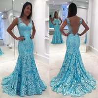 2018 Newest Design Sexy Deep V neck Blue Prom Dresses Backle...
