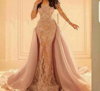 Splendida abito da sera a maniche lunghe in pizzo Elie Saab Applique con gonna staccabile 2016 Scoop Neck Mermaid Prom Party Gowns Custom Made