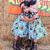 2017 New Halloween Dress Toddler Kids Girls Dots Pumpkin Print Patchwork Child Vestidos de festa One Pieces Outfits Children Clothes
