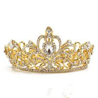 Corona di lusso vintage strass Corona di cristallo barocco Tiara nuziale Corone per capelli Fascia per capelli Accessori per capelli da sposa di diademi per le signore