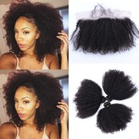 13x4 Lace Frontal Closure With Bundles Brazilian Hair Afro K...