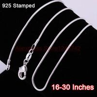 Venta al por mayor-16-30 pulgadas 20pcs Cadenas de collar de serpientes 1.2mm Real 925 Resultados de plata esterlina DIY Joyería caliente