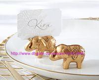 50 sztuk Golden Gold Lucky Elephant Place Uchwyt Posiadacz posiadaczów Nazwa Numer Tabela Place Wedding Favor Prezent Unikalny Party Favors.