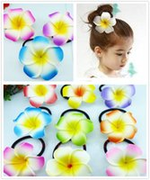 15% off! Hawaiian Plumeria Flower Elastic Hair Rope Ring Pon...