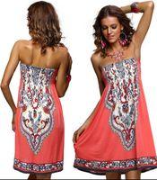 Новое поступление сексуальные женщины мини-платье с длинными рукавами повседневные цветочные бандо пляж лето бохо макси сарафан Bodycon женская одежда женские платья