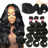 8A Brazilian Body Wave Hair bundles With Closure 4X4 Lace Cl...