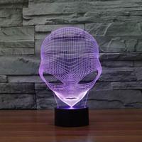 Esclusiva lampada da tavolo a LED a forma aliena speciale a luce notturna 3D con alimentazione USB HR-3048 con luce a 7 colori.