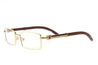 Gafas de cuerno de búfalo de alta calidad para hombres gafas de sol de madera originales lente clara rectangular marco completo semi-sin borde vienen con caja de gafas