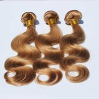 패션 컬러 # 27 꿀 금발 머리 번들 말레이시아의 인간의 머리 바디 웨이브 위브 3 PC를 / 많은 바디 웨이브 인간의 번들 / 씨실