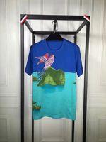 Летний стиль мужчины повседневная печать орла футболка мужской синий хип-хоп тройник плюс размер человека аниме свободный забавный с коротким рукавом футболка
