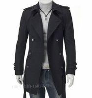 Otoño-2016 Winter Charm Hombre Vintage Trench coat Hombre elegante Windproof Coat Negro, caqui M-4XL Classic Design Hombre Trench Coat
