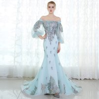 Evening Dress 2017 Light Blue Boat Neck Long Sleeves Lllusio...