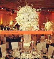 Uzun boylu akrilik kristal düğün ayağı koridor standı düğün merkezinde olay parti dekorasyon / çiçek tutucu ekran standı