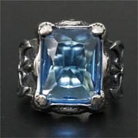 3pcs / lot Nouveau design énorme pierre bleue du Rhin anneau 316L bijoux de mode en acier inoxydable Fleur Couleur Bleu Clair Pierre Anneau froid