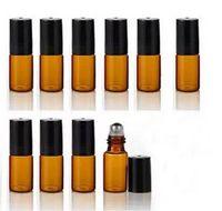 Fabrika Fiyat Paslanmaz Çelik Topu Doldurulabilir 3 ml Mini Cam Şişeler Uçucu Yağ Üzerinde Rulo Rulo topu parfüm Parfüm Şişesi Ücretsiz Shippng