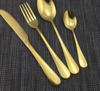 4 Parça / takım Altın renk Paslanmaz Çelik Yemek Takımları Sofra Bıçak Çatal Çay Kaşığı Lüks Çatal Seti Sofra Seti KKA2313