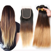 New Arrival Malaysian 9A Ombre Straight Hair Bundles With La...