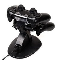 PlayStation Dualshock 4 PS4 Xbox 1コントローラゲームパッドUSBケーブルブルーLEDライトインジケータのためのデュアル充電スタンド充電器ドックステーション