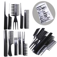 comb hair 10 piece Hair Styling Comb Set Professional Black ...