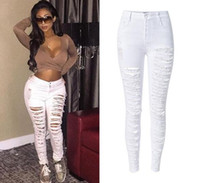 2016 Haut Évider Out Ripped Distrressed femmes jeans Top Broken Skinny Denim Jeans Pour Femme Plus la Taille Casual Denim Pantalon