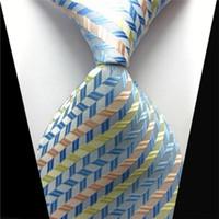 8 أنماط جديدة كلاسيكية مخططة الرجال ربطات العنق الزرقاء جاكار نسج 100 ٪ الحرير الأسود والأخضر ربطات العنق الأعمال الرسمي للهدايا شحن مجاني