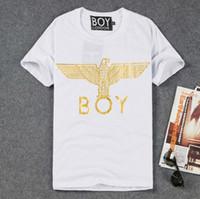 446dc92ee425 Europe Tide brand BOY LONDON T-shirt men and women couple models gilt eagle  letters short sleeve Bigbang