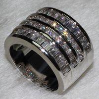 Bijoux en gros luxe gratuit Bijoux Princesse Cut 10ct Topaze Diamonique 10KT or blanc rempli d'engagement de mariage bande de femmes Bague Taille 6-9