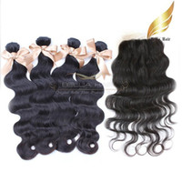 Peruvian Human Hair Closure With Hair Piece 4pcs + 1pc 4x4 Ha...