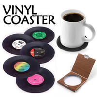 Atacado freeshipping mais novo hot 6 pçs / set Registro de Vinil Do Vintage Bebida Coasters Anti-slip Copo Caneca De Café Tapete Resistente Ao Calor Tabela Placemat