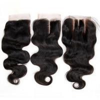 Brasileño Body Wave Virgin Human Hair Cordillo Cierres Free Middle 3 Parte peruian Malasian Indian Camboya Mongolian Cierre de pelo 4x4 Tamaño