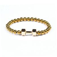 Bijoux de puissance de vente chaude en gros, 6mm sans perles d'hématite magnétiques avec des bracelets de charme en métal alliage fitness avec haltères avec des mots
