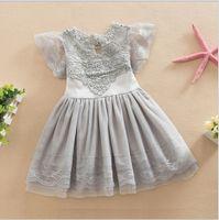 2018 nova linda menina rendas de algodão princesa dress crianças verão lace gaze vestidos crianças roupas de bebê menina tutu saia 100-140 cm 5 pçs / lote
