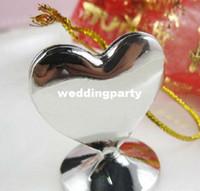Décoration de mariage en métal Love Heart forme Silver Place / nom / photo Card Holder