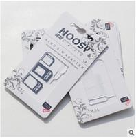 Alta qualità 4 IN 1 Noosy Nano SIM Scheda Adattatore Set Micro Stander SIM SIM Strumenti SIM Card Pin per iPhone 4S 5S 6 6S Plus con pacchetto