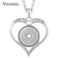 NOOSA Collier coeur incrusté clair strass Fit 18mm breloque avec chaîne en acier inoxydable VOCHENG NN-434