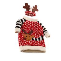 1 Satz Nette Pullover Rotweinflasche Abdeckung Taschen Weihnachtsmann Tischdekoration Kleidung Mit Hüte Home Party Dekore