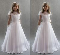 Weiße Prinzessin Blume Mädchen Kleider Für Hochzeiten 2017 Stehkragen Ärmel Spitze Chiffon Bodenlangen Erstkommunion Kleider Kinder Party Dre