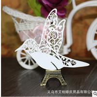 100psc / Lot weiße Vögel Glas Karten Laser Cut für Hochzeitstabelle Sitz Name Tischkarten Hochzeit Dekoration