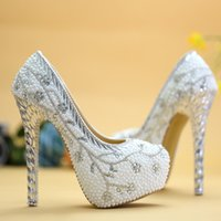 Crystal Heel Wedding Shoes White Pearl Handmade Bridal Shoes...
