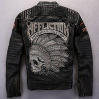 Fall- Classic street motorcycle jacket mens genuine cow leath...