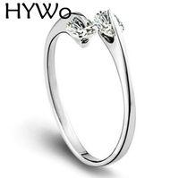 HYWo واضح الزركون 925 الفضة الاسترليني مع النساء حفل زفاف موضة خواتم مزدوجة الماس حلقة واحدة مفتوحة تصميم صالح باندورا الدائري
