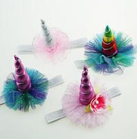 Hot Baby Stirnbänder Mädchen Blume Funkeln Einhorn Party Haarbänder Kinder Glitter Haarschmuck Prinzessin Geburtstag Fotografie Stirnbänder