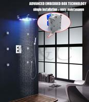 묻힌 상자 12 인치 LED 7 개의 색깔 강우 샤워 헤드를 가진 쉬운 임명 온도 조절하는 샤워 꼭지 세트 002T-12-2C