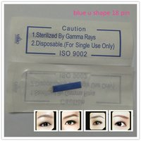 50 Teile / los 18 Pin U Form s Permanent Makeup Augenbrauen Stickerei Klinge Für 3D Microblading Manuelle Tätowierung Stift