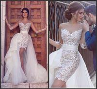 외장 크루 깎아 지른 신부 웨딩 드레스 2021 짧은 긴 소매 레이스 비치 웨딩 드레스 분리형 스커트
